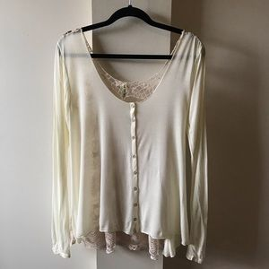 Free People Ivory Lace Back Too